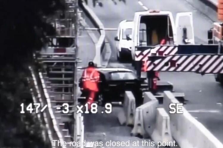 A motorist caught on CCTV encroaching onto road works